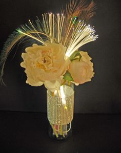 5.99 SALE PRICE! This glittering centerpiece is sure to bring breathtaking beauty to your evening party or wedding reception. The Fiber Optic Spray in warm w...