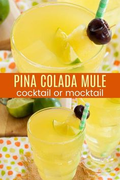 Pina Colada Moscow Mules -  break out the copper mugs for the bright and refreshing combination of pineapple and coconut from classic pina coladas infused with the zingy spiced goodness of the ginger beer and lime from the traditional Moscow Mule. Just four ingredients in this easy cocktail recipe, or swap the rum for coconut water and make it a tropical mocktail the kids can enjoy! Cocktail And Mocktail, Refreshing Cocktails, Easy Cocktails, Protein Shakes For Kids, Protein Shake Recipes, Magic Bullet Recipes, Watermelon Sorbet, Weight Watcher Smoothies, Fruit Smoothies
