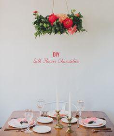 DIY Silk Flower Chandelier