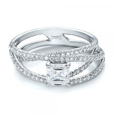 Custom Pave Diamond Multi-Band Engagement Ring - Laying View