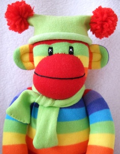 Rainbow Sock Monkey... do you think they really do come alive at night when everyone else is sleeping???