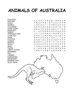 Free Kids Printable Activities: Animals of Australia Word Search
