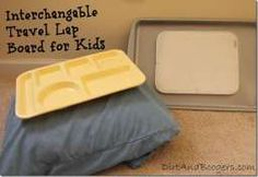Interchangeable Travel Lap Board for Kids.  Makes traveling with kids so much easier!
