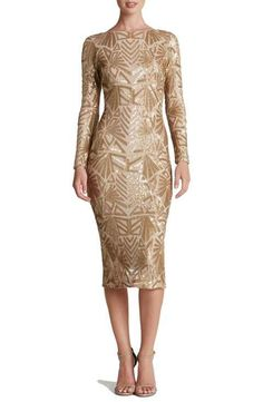 Dress the Population 'Emery' Sequin Midi Dress