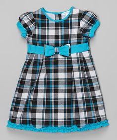 Another great find on #zulily! Blue & Black Plaid Cap-Sleeve Dress - Infant & Toddler by La Fleur & Le Papillon #zulilyfinds