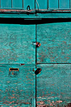 worn turquoise paint