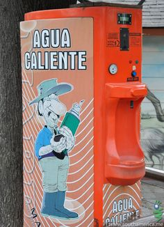 """A vending machine selling Hot Water in Argentina. It's for their """"Mate"""" drink. TRAVEL ARGENTINA BY MultiCityWorldTravel.Com Search Engine For Hotels-Flights Bookings Globally Save Up To On Travel Cost Easily find the best price and . Ap Spanish, Spanish Culture, Spanish Lessons, Spanish Food, How To Speak Spanish, Spanish Teacher, Spanish Classroom, Teaching Spanish, Yerba Mate"""
