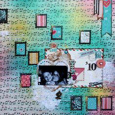 """PP: """"Love the colors. Amazing techniques! @Mahlin Wiggur #bobunny"""" I like the colorful background with music notes for music scrapbook pages."""