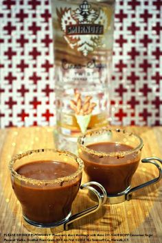 Churros y Chocolate w/ 1/4 cup half-and-half, 1 tbsp of hot cocoa mix, 1 oz Smirnoff Cinna-Sugar Twist Flavored Vodka, 1/2 oz creme de cacao liqueur, cinnamon-sugar & chocolate shavings. Mix the cinnamon-sugar w/ 1 tbsp chocolate shavings. Dip the rim of a small espresso cup into water and then the sugar-shaving mixture. Warm the half-and half and add the cocoa mix and dissolve until mixed well. Add the vodka and liqueur and stir. Serve warm or at room temperature. #Smirnoff #drink #recipe…