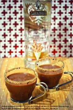 Churros y Chocolate w cup half and half 1 tbsp of hot cocoa mix 1 oz Cinna-Sugar Twist Flavored oz creme de cacao liqueur cinnamon-sugar & shavings. by laspiritspecialist Fall Cocktails, Winter Drinks, Cocktail Drinks, Sugar Twist, Yummy Drinks, Yummy Food, After Dinner Drinks, Hot Cocoa Mixes, Create A Recipe