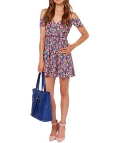 Chiffon Floral Print Cold Shoulder Short Slip Dress @yoyomelodydress