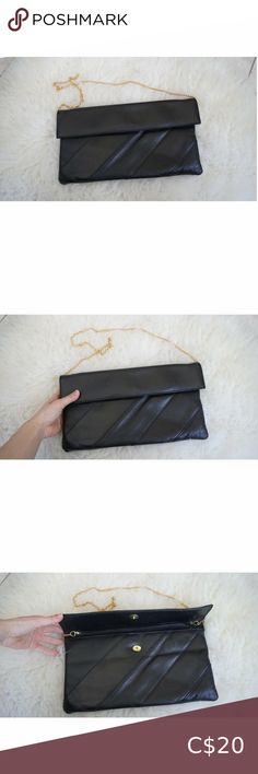 Vintage Black Leather Clutch Black Leather Clutch with removable gold chain. Inside Zipper pocket. Delivery and Shipping available. ✨ Returning Clients receive 10% off of entire purchase. ✨ 20% of our profits go back into local charities. ✨ All our pieces are washed or steam cleaned and stored in a non smoking environment. Vintage Bags Clutches & Wristlets Vintage Clutch, Vintage Bags, Vintage Handbags, Vintage Leather, Black Leather, Crossbody Clutch, Leather Clutch, Leather Purses, Beaded Clutch