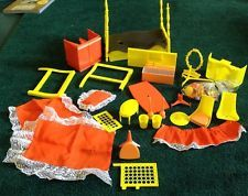 VINTAGE AMSCO TOPPER DAWN DOLL APARTMENT FURNITURE CANOPY BED EAMES CHAIRS W/BOX