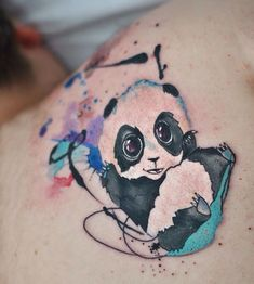 Dope Indulgence watercolor panda tattoo