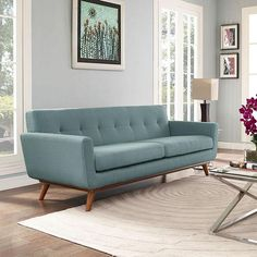 Engage Upholstered Fabric Sofa in Laguna Living Room Sofa, Living Room Furniture, Living Room Decor, Home Furniture, Cozy Living, Small Living, Modern Furniture, Sofa Upholstery, Upholstered Sofa