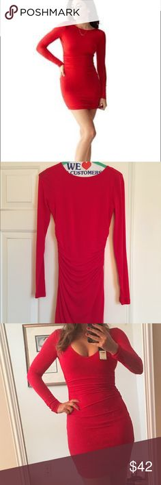 """NWT small red Guess dress V Neck/ back NWT.  Size small. Retails for $89. Stretch jersey dress. Long sleeves. Shirred detail at sides. Lined. Measures approx 35"""" from shoulder to hem. Super sexy.  You can wear the V in front or the back.  Soft Stretch jersey material. Guess Dresses Mini"""