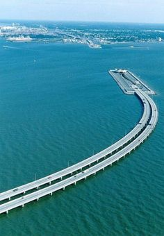 This amazing bridge between Sweden and Denmark tunnels under the water to allow ships to pass through.