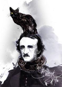 Edgar Allan Poe - The Black Cat by Zé Otavio https://www.behance.net/gallery/13620719/Edgar-Allan-Poe-The-Black-Cat