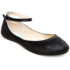 Blue by Betsey Johnson Joy Evening Flats ($99) ❤ liked on Polyvore featuring shoes, flats, black, flat shoes, sparkly ballet flats, ankle strap flats, black skimmer and sparkly flats