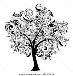Tree tattoo design. I like the energy of the piece, and how the leaves and branches can hide many small symbols and images.
