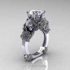 Love and Sorrow 14K White Gold 3.0 Ct Russian Ice Simulated Diamond Skull and Rose Solitaire Engagement Ring R713-14KWGRICZ
