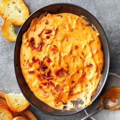I've tried assorted appetizers before, but this one is a surefire people-pleaser. The thick bacon cheese dip has lots of flavor and keeps my guests happily munching as long as it lasts. I serve it … Bacon Cheese Dips, Beer Cheese, Cheese Dip Recipes, Cheese Ball, Shrimp Recipes, Cheddar Cheese, Taste Of Home, Sandwiches, Keto Snacks