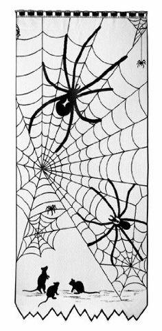 Halloween Spiderweb Black Lace Scenic Window Curtain . $35.67
