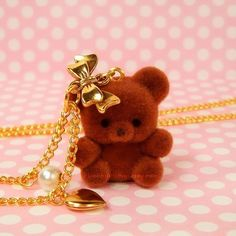 Sweet Lolita Hime Necklace Chocolate Teddy Bear by blacktulipshop, $12.00