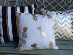 Tropical gold foil pineapples on medium weight by MyPillowShoppe