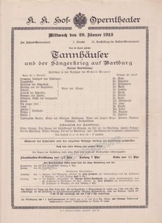 Imperial & Royal Court Opera Playbill - Tannhauser - Jan. 29th, 1913