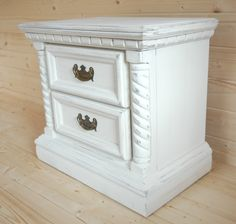 Very solid antique 2 drawer chest in classical style.