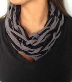 Arm knitted single tee-shirt yarn infinity scarves.
