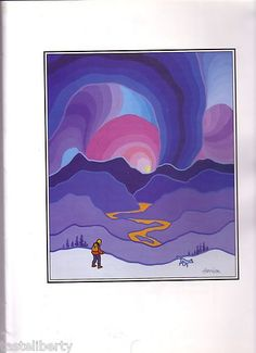 PRINT Art TED HARRISON Yukon CANADA Trapper HIKER Miner WOLF Northern Lights