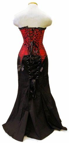 Beautiful lace back shoulder-less long black skirted corset dress