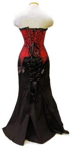 Beautiful lace back shoulder-less long black skirted corset dress