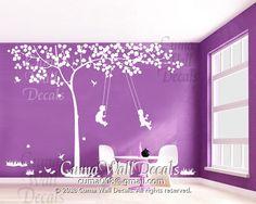 Tree wall decal and kids playing swing  wall decal birds por cuma