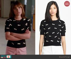 Rachel's black and white bow covered top on Glee.  Outfit Details: http://wornontv.net/43307/ #Glee