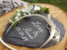 Ringkissen Ringhalter Schiefer Herz mit Beschriftung Namen Hochzeit für Eheringe