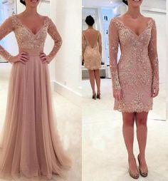 Abiye Gece Elbisesi 2016 Champagne manga larga vestidos noche desmontable falda cóctel de encaje sin espalda partido vestido Formal vestido