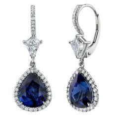 Choose Sapphire Birthstone Jewelry to Celebrate September Birthdays: Sapphire diamond earrings