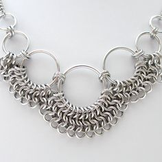 Women's chainmail necklace Euro 4 in 1 weave by TattooedAndChained
