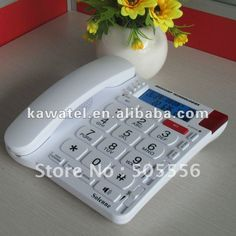 $45 Big button digital phone. Caller ID on screen, Red flash warns of incoming call. Corded - works in case of power outage