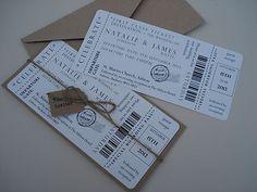 1 Vintage/Shabby Chic Style ticket wedding invitation stationery sample | eBay