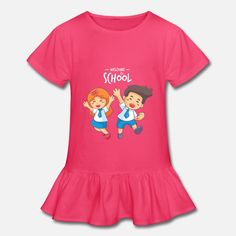 Welcome to school Girl's Ruffle T-Shirt Welcome To School, Types Of Printing, Viscose Fabric, School S, Product Offering, Custom Clothes, Fabric Weights, Colours, Hoodies