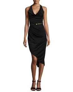 Asymmetric Halter-Neck Cocktail Dress, Black by Halston Heritage at Neiman Marcus.