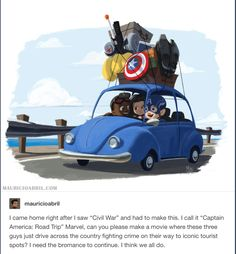 Yes! And from time to time, Nat and Wanda would just show up. Like Steve, Bucky, and Sam stop to get food/gas and when they come back to the car, Nat and Wanda are in the back seat. Of course, the trip would also involve them visiting the other Avengers. Imagine them sleeping over and interacting with Clint and his family. Or showing up to Scott's daughter's birthday. Or finding Pepper and convincing her to talk to Tony - hell, they drive her to him (that's what makes him finally forgive…
