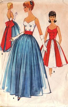1960s Vintage McCall's Pattern No. 5771 Misses Dress Or Gown and Sash Size 12. $35.00, via Etsy.