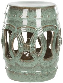 Limited Production Design & Stock: Chinese Antique Green Ceramic Rope Garden Stool / Side Table * 17 x 13 inches
