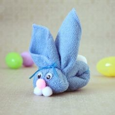 """Fold a dollar store wascloth into a cute bunny! Perfect for Easter Baskets or to use as a """"boo boo bunny"""" throughout the rest of the year."""