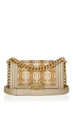 d211be04a24c2f Runway Edition Chanel Runway Gold Metallic CC Embellished Lambskin Small  Boy Bag by Madison Avenue Couture